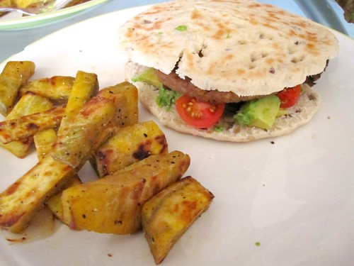 Veggie Burger and Yam Fries