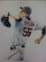 """The Freak"" (BryanWaytula) Tags: art sports sketch baseball drawing tradingcard giants coloredpencil sanfranciscogiants cyyoung timlincecum waytula bryanwaytula"