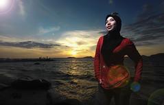 Ida | Sunset | Sutera Beach | Kota Kinabalu | February (azj68@yahoo.com | +6 0138895959) Tags: blue sunset red sea sky green water waterfall model nikon photoshoot hijab malaysia borneo kotakinabalu sabah melayu malay sino kadazan azman tudung northborneo hijjab d700 sb900 azmanjumat
