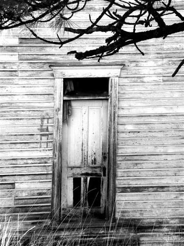 Door of 1903 church (B&W)