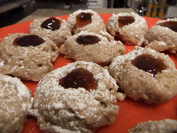 Pecan and Strawberry Jam Thumbprints
