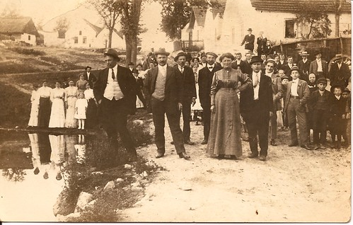 Town gathering in Simanek home town of Predmir, Czechoslovakia.