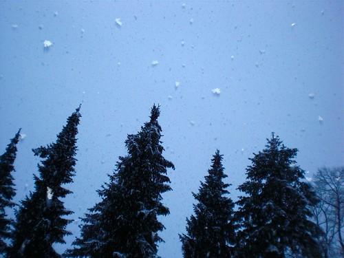 riesengroße Schneeflocken.