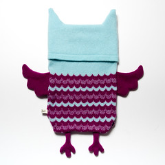 Beryl the Owl Hot Water Bottle Cosy (SaraCarr66) Tags: blue winter cute wool animal children cozy knitting purple handmade crafts craft housewares sleepy owl accessories etsy knitted lambswool cosy paleblue beryl hotwaterbottlecover folksy homewares machineknitted