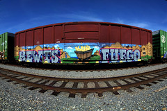 Big Thunder Mountain (TRUE 2 DEATH) Tags: california street railroad autostitch panorama streetart art train gold graffiti losangeles pano tag graf trains panoramic railcar spraypaint boxcar fuego railways stitched railfan freight freighttrain autostitched rollingstock endtoend autopano  stitchedpanorama autopanopro knd mewt benching freighttraingraffiti fuegoknd mewts