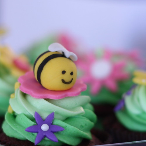 Dark Red Velvet Cupcakes with Cream Cheese Frosting & Marshmallow Fondant Spring Flowers & Bee