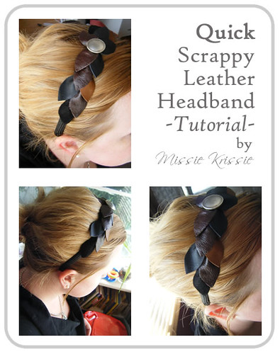 Scrappy leather headband Front