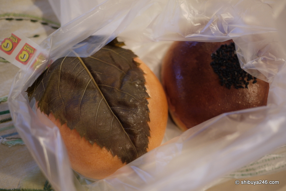 This is the sakura and anpan I bought. They both tasted great. Eating the leaf was probably the best part.