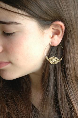 Gold Pod hoop earrings