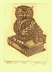 001 (tim.spb) Tags: original bird etching postcard small ornament owl plates desigh      aquafortis
