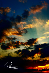 when photons go to sleep (remography) Tags: blue sunset red sky orange sun black color green rot yellow clouds 50mm schweiz switzerland evening abend photo nikon foto sonnenuntergang himmel wolken gelb utata grn blau nikkor sonne farbe schwarz d700