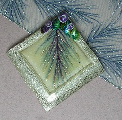 Polymer Clay Winter Pin (auntgriz) Tags: handmade brooch silverblue polymerclayjewelry craftribbon knightworkstudio winterpin