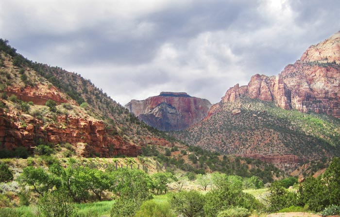 zion national park with red mountains and stormy sky
