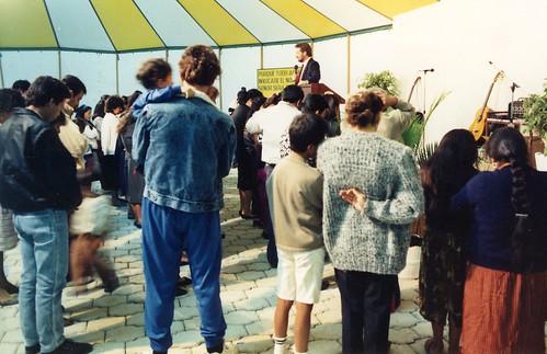 Rick at altar call in Loja