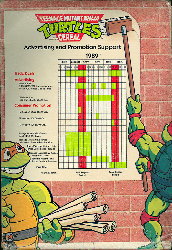 "Ralston ""Teenage Mutant Ninja Turtles"" Cereal - Sales Sample ii (( 1989 ))"