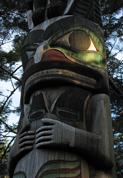 late afternoon light on a totem, Kasaan Totem Park, Kasaan, Alaska