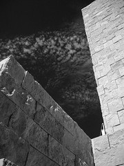 Architecture and Nature (KYin1221) Tags: california sky blackandwhite bw usa white black building water wall architecture clouds losangeles shadows stones vibrant bricks artificial shades animated alive gettycenter fossils thechallengefactory kyphotography lostinlifeagain