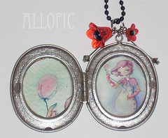 I love poppies locket pendant