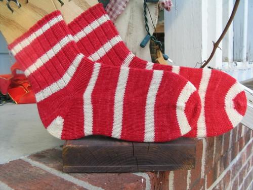 Big Red Stripe Socks