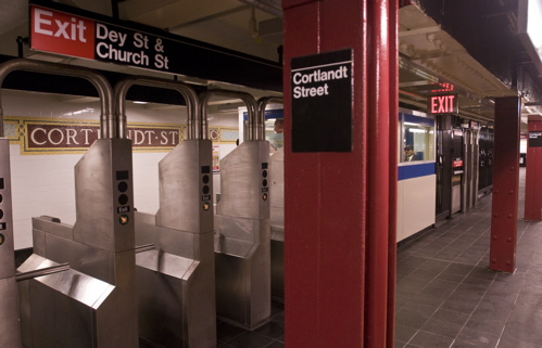 The northbound Cortlandt Street station on the Broadway line reopened last Tuesday. (Courtesy MTA)