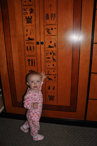 Reading hieroglyphics at the Luxor.