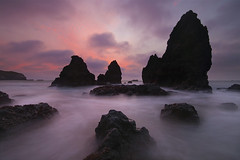 Sunset Rodeo Beach - San Francisco, California (Lightvision []) Tags: ocean sanfrancisco california ca longexposure pink light sunset sea sky cloud storm tourism water sunrise canon dark bay coast smooth goldengate bayarea headlands sausalito tranquil seastacks rodeobeach sigma1020mm thebestwaterscapes marlincounty