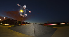 Ollie Into Bank (ahvisuals) Tags: sky car clouds lights skateboarding bank ollie skatepark slowshutter lightstreak curtishartshorn