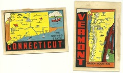 Travel Decal (Hugo90-) Tags: auto travel window car advertising vermont fifties map connecticut ct tourist decal states sixties vt
