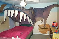 dinosaur bed (The Sugar Monster) Tags: pink grey decor dinosaurs