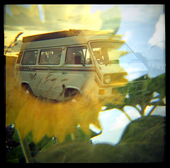 Magic Bus (alspix) Tags: vw doubleexposure dianaclone happyaccidents expiredfilm vanagon t25 konicavx100 novaprospeedc41