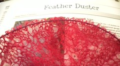 very pink Feather Duster shawl