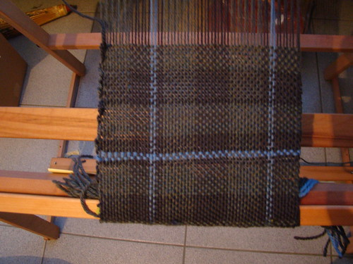 Plaid scarf in progress
