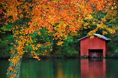 Autumn at DeSoto Falls. (BamaWester) Tags: autumn reflection fall leaves alabama desotostatepark boathouse desotofalls bamawester napg