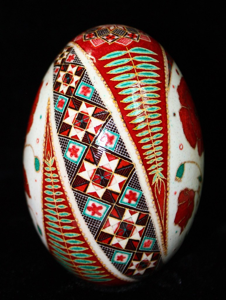 Red Poppy Pysanky on Goose Egg