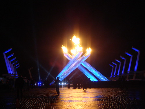 The Permanent Vancouver 2010 Olympic Cauldron Burning Brightly in Jack Poole Plaza at the Vancouver Convention Centre