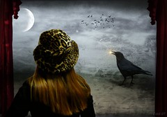the raven watcher (Eddi van W.) Tags: light texture creativity mood digitalart gimp textures creativecommons ritual spiritual raven magical deepness kreativitt eddi07