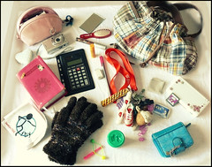 What's in my purse (Of all the voices in my head) Tags: camera pen hair bag paper keys photography mirror is play heart whats eraser nintendo ds makeup brush gloves purse calculator what bible premium picnik mittens doh melaniesau