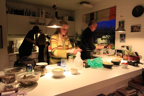 Aase, Anne, Marie, Line, and Sven preparing a lovely dinner in Graasten, Denmark.