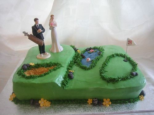 Golf Green Wedding Cake by Linzi's Cakes