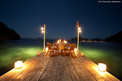 Moonlit Dinner (Charles Gaisano) Tags: ocean longexposure trip travel sky seascape beach dinner canon star boat honeymoon dive symmetry fullmoon moonlight dri elnido palawan minilocisland