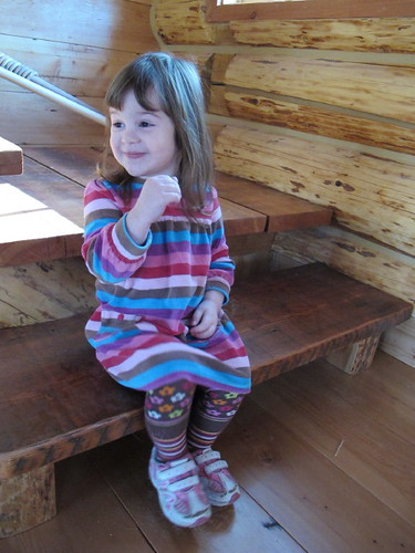 Sweet girl on the steps