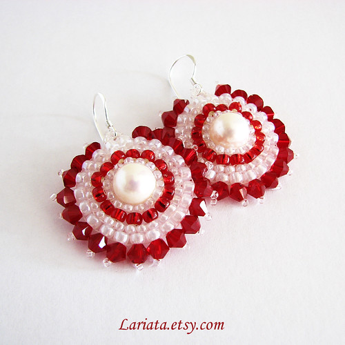 siam red and pearl blossom earrings with swarovski