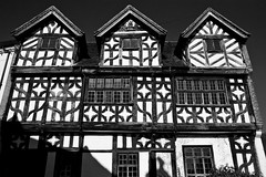 Tudor (Gary Kinsman) Tags: light shadow bw architecture contrast blackwhite shropshire timber framed tudor ambient canon5d available 2010 1580 bridgenorth sigma2470mmf28 exisitng