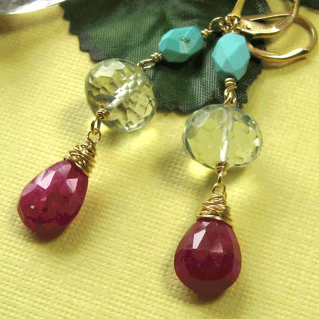 Gahooletree ruby prasiolite and turquoise handmade dangle earring on gold fill by cdnallie