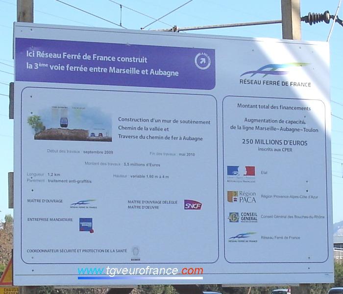 Panneau décrivant la nature des travaux en cours de réalisation le long du Chemin de la Vallée et de la Traverse du Chemin de fer