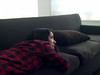 Me (HereNorth) Tags: red woman girl shirt digital one back down couch hasselblad lie button flannel brunette plaid phase laying h2d p25 as