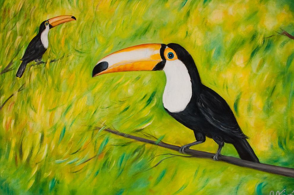 """Pintura de Osvaldo Albert, en la Galería """"Osvaldo Albert"""" ubicada sobre una de las avenidas importantes de Areguá (Areguá, Paraguay - Elton Núñez)"""