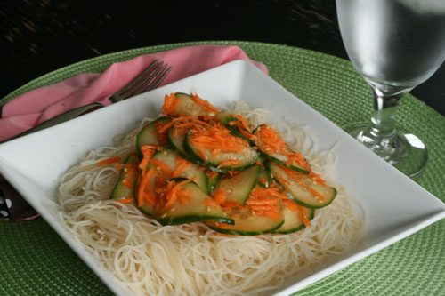 Seasoned Rice Noodles with Cucumber and Carrot Salad Recipe