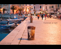 Promenade at night (Explored for Nikon D3000) (Michele Cannone) Tags: sunset italy night port walking lights harbor boat barca mare 50mm14 porto promenade lungomare puglia romantico lampioni passeggiata trani pinnaclephotography