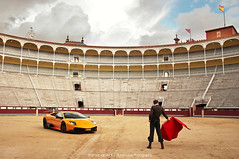 The Fight (Thomas van Rooij) Tags: madrid blue red sky orange cars car clouds photography march fight amazing spain nikon photoshoot thomas stadium flag awesome automotive super bull arena exotic stunning huge stadion fighting nikkor bullfight lambor
